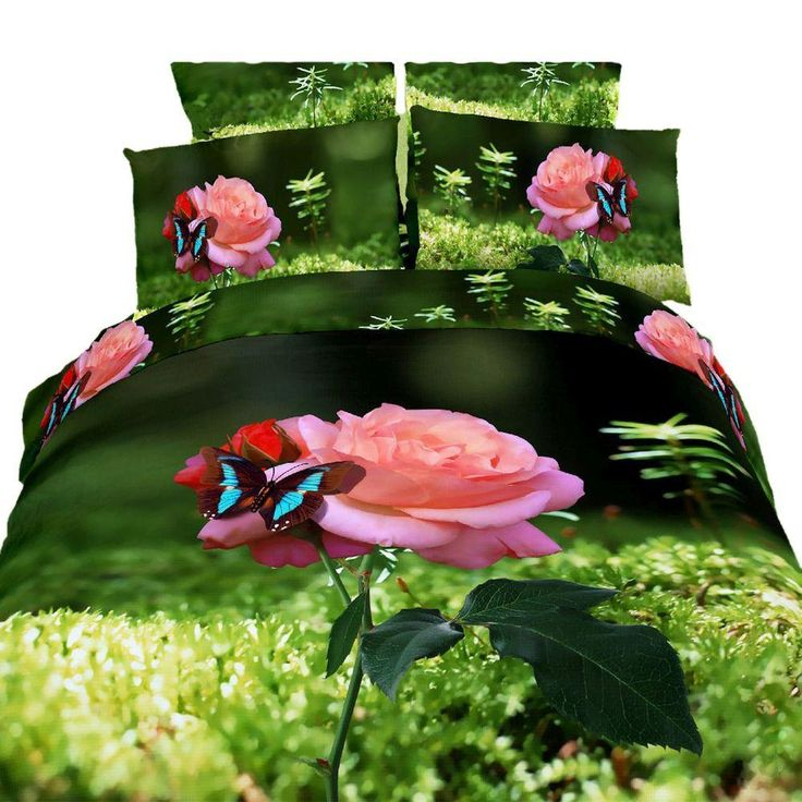 Queen Size Duvet Cover Sheets Set, Butterfly Rose