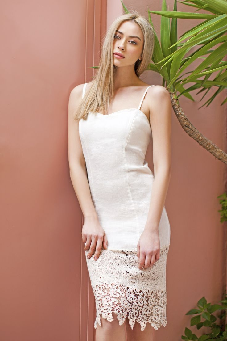 Haris Cotton, Linen with Cotton Lace Dress 904 Off White
