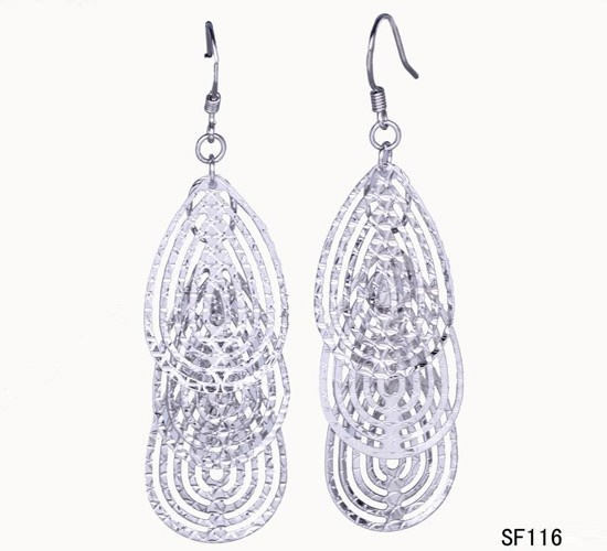 $3.97  68x18mm 925 Sterling Silver Hollow Piece Charms Dangle Earrings