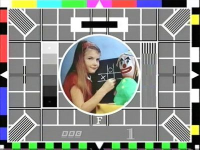 Test card F This is what you used to get on Saturday mornings if you turned TV on too early.