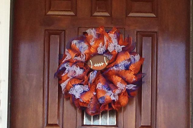 SUPER BOWL 50TH Denver Broncos Football Wreath~National Football League~Game Day Decor~Orange Blue & White Decor~ Football Team Wreath by TeesWonderfulWreaths on Etsy
