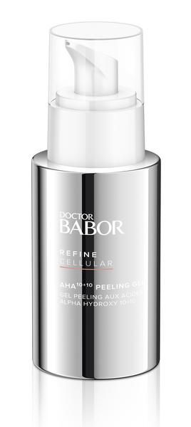 Babor DOCTOR BABOR Refine Cellular AHA 10 10 Peeling Gel. AHA peel with Exfolimax formulation contains a precisely coordinated combination of 10% fruit acids and 10% highly effective antioxidants including vitamin C and thiotaine.  This synergistic blend of intensive exfoliation and effective protection will accelerate skin renewal and protect against premature aging.  Fine lines are reduced, pores are refined, and the complexion takes on a healthy and radiant appearance. #antiaging