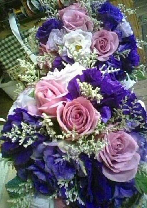 Purple Rose and Lisianthus Bridesmaid Bouquet