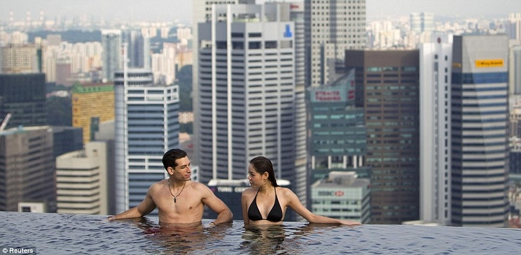 Infinity Pool at the  Marina Bay Sands Hotel is 55 Stories above ground in Singapore.