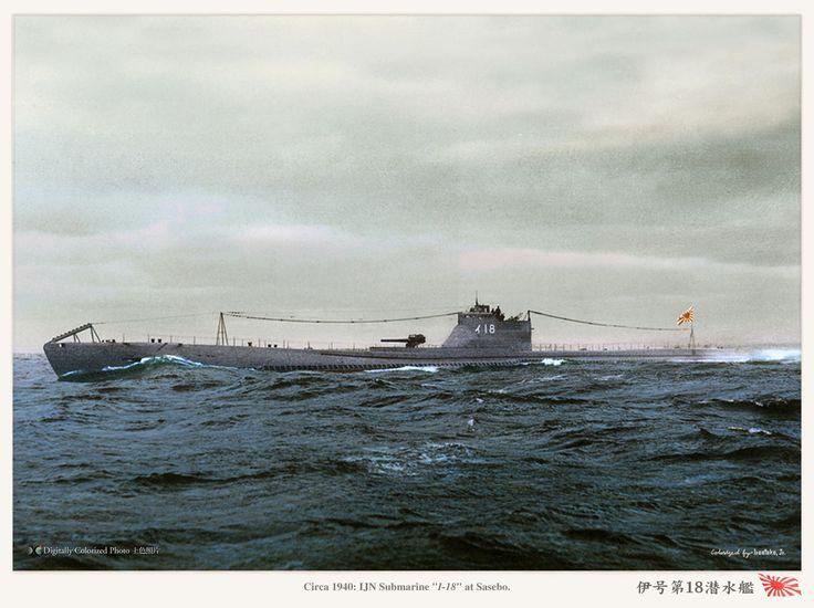 "Imperial Japanese Navy - Circa 1940: IJN Submarine ""1-18 ..."
