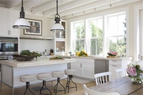 modern kitchen by Kate Jackson Design: Big Window, Kitchens Window, Kitchens Design, Jackson Design, Kate Jackson, Beaches Houses, Bar Stools, Modern Kitchens, White Kitchens