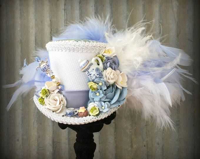 Mini Top Hat, French Blue and green Rose Tea Cup hat, Alice in Wonderland, Mad Hatter Hat, Tea Hat, Mad Hatter Tea Party, Pink roses Tea Hat