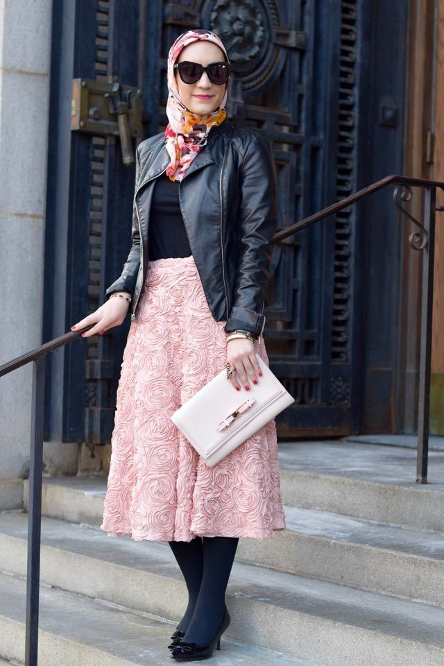 A Day In The Lalz; Lalz Aslani; Valentine's Day Outfit; Pink Rosette Midi Skirt; Black Leather Jacket; Pink and black; Ted Baker Bow Clutch; Stila Fiore Liquid Lipstick; Pink Midi Skirt