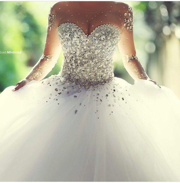 2016 Said Arabian Design Illussion Jewel Beaded Bling Bling Pearls Long Sleeve Puffy Princess Ball Gown Wedding Dresses