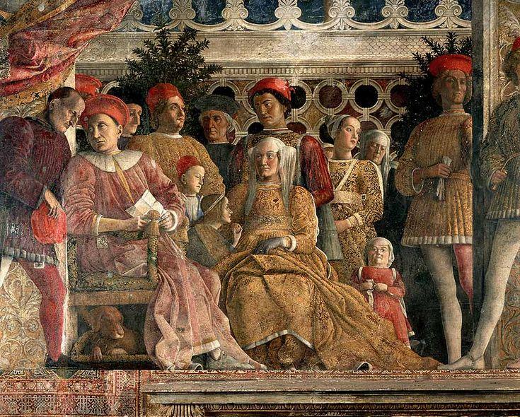 """Andrea Mantegna, """"Camera degli Sposi"""", particolare della parete nord: """"la corte dei Gonzaga"""", 1465-74, affreschi, Mantova, Castello di San Giorgio."""