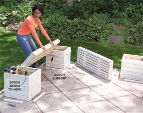 DIY planter bench