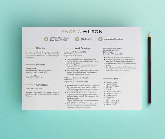 Horizontal HR Recruiter Resume Template /Cover by ScribbledNapkin