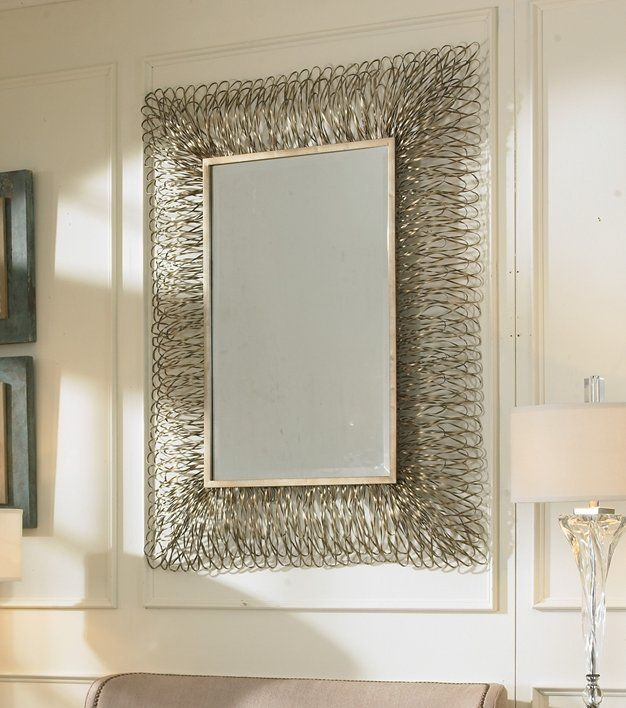 Details About Contemporary 56 Silver Frayed Shredded Metal Wall Mirror Modern Extra Large With Images Mirror Decor Metal Mirror Mirror Wall