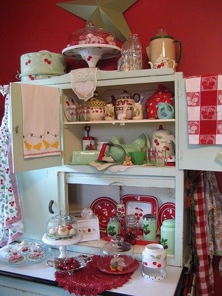 Vintage Cherry Kitchen Decor ~ love it! Reminds me of my grandmother's kitchen and fond memories.