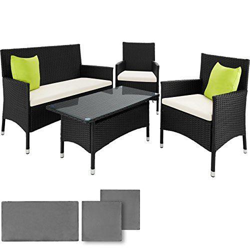 TecTake Aluminium Salon de jardin TABLE DE JARDIN EN TRESSEE CHAISES ...
