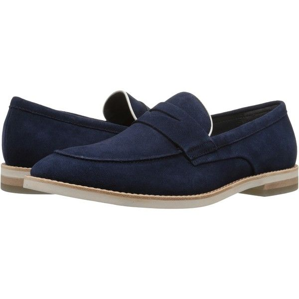 Calvin Klein Andron (Dark Navy/Latte Oily Suede/Smooth) Men's Shoes (170 BRL) ❤ liked on Polyvore featuring men's fashion, men's shoes, men's loafers, navy, mens suede loafers, calvin klein mens shoes, mens navy blue suede shoes, mens loafer shoes and mens suede slip on shoes