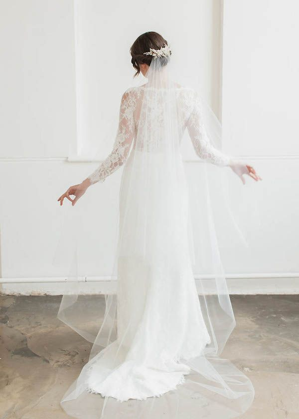 LOVE FIND CO. The ROSELLA / Chapel Veil with Blusher by Tania Maras