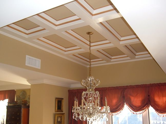 wood laminate coffered ceiling kits   faux coffered ceiling kits   Ceiling design, Moldings ...