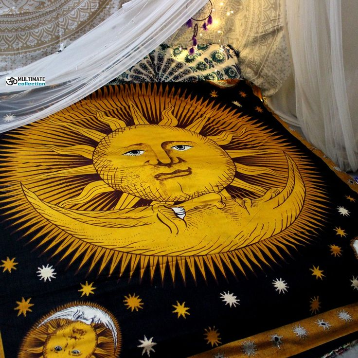 Large Yellow Sun Moon Wall Tapestry and Bedsspread