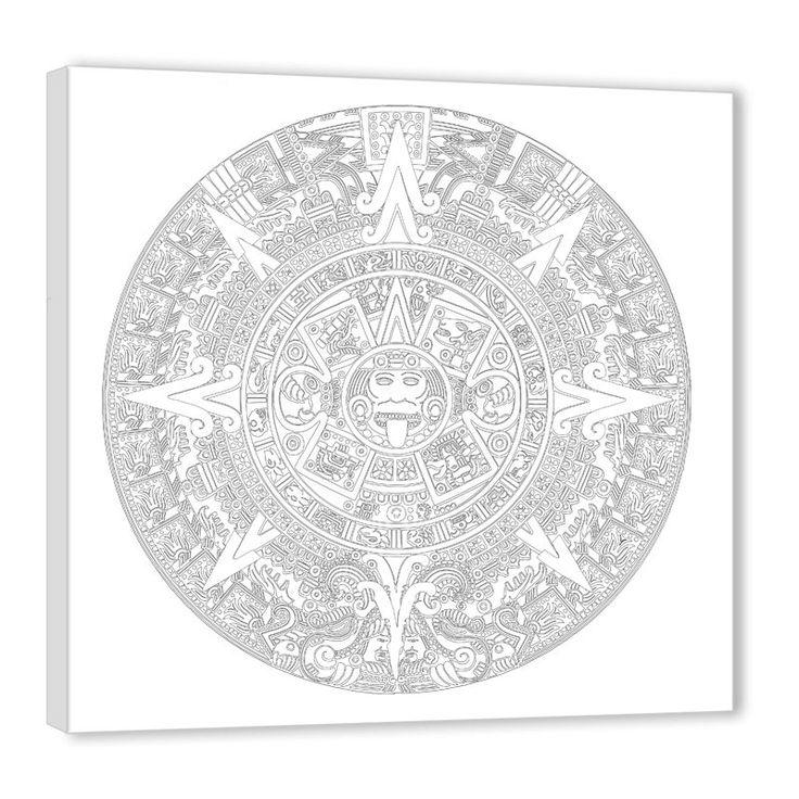 Maya Kalender - Maltherapie - Malvorlage auf Keilrahmen! von Lebensfreudeladen auf Etsy