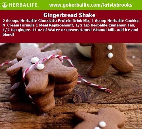 Gingerbread Herbalife Protein Shake. Enjoy the holidays with a yummy sweet treat with all the flavor and less the calories and fat.  Losing weight during the holidays is easy! www.goherbalife.com/kristybrooks