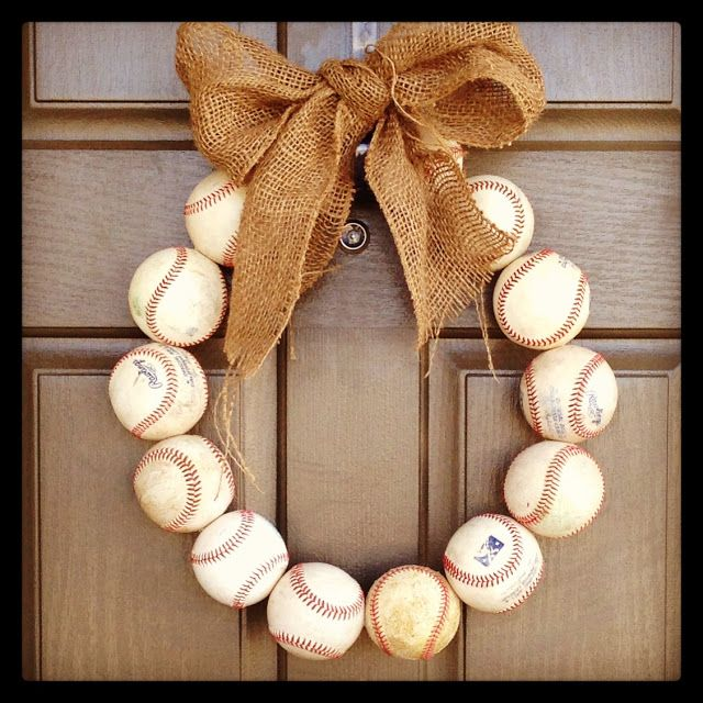 Baseball Wreath-   Supplies needed:  - wire hanger  -14 baseballs  -drill  -ribbon of choice (I used burlap)  Cannot wait to make this!