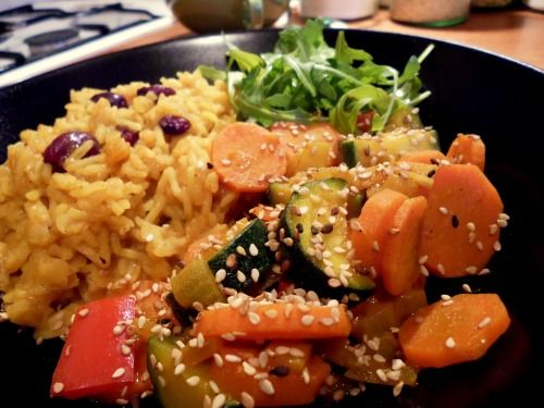 ryż, soczewica z curry