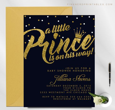 Invitations & Announcements  Invitations  Prince  Baby Shower  royal blue  Gold  Glitter printable  invitation  invite  personalized  Royal blue and gold  Little Prince  crown invitation  Boy Baby shower
