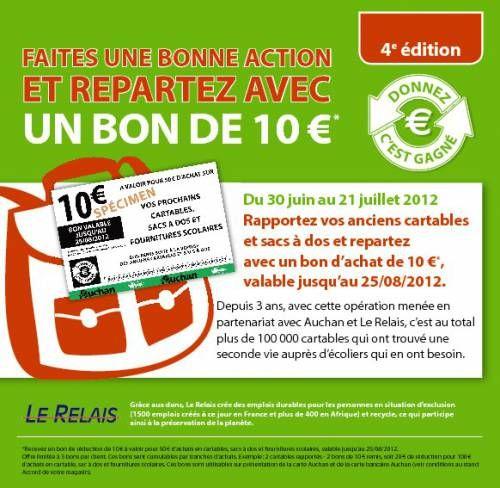 Bon plan rentrée scolaire 2012 : Auchan reclyclage de cartable en bon d'achat de 10€