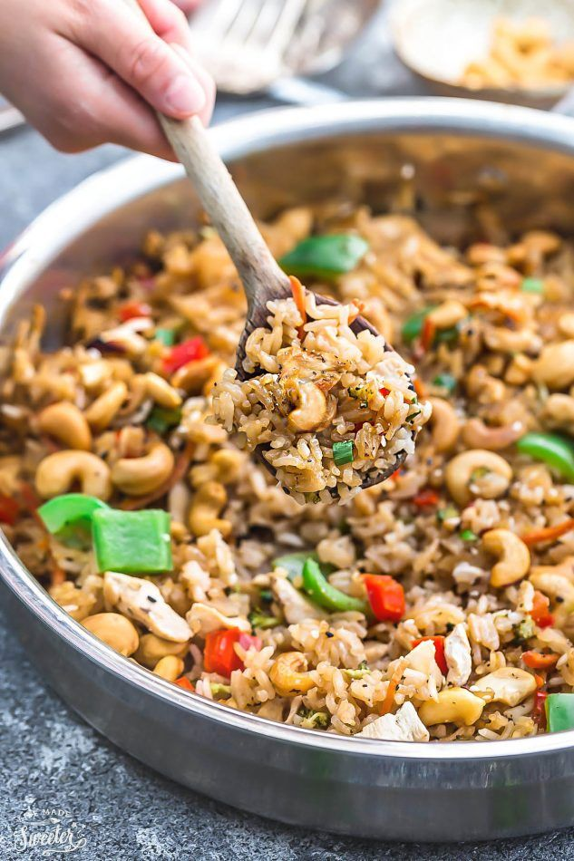 One Pot Cashew Chicken Rice is the perfect easy weeknight meal. Best of all, everything cooks up in just ONE pan (Instant Pot) & better than takeout!