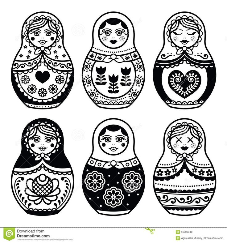 Matryoshka, Russian Doll Icons Set Stock Illustration - Image ...