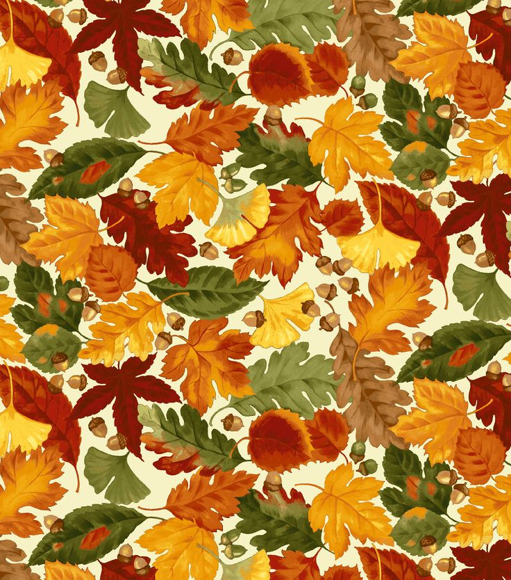 Teppich Retro Gelb Autumn Inspirations Fabric- Leaves And Acorns Beige