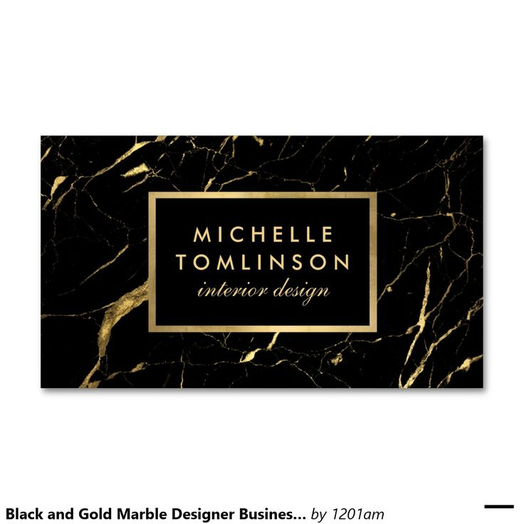 Black and Gold Marble Interior Designer Business Card