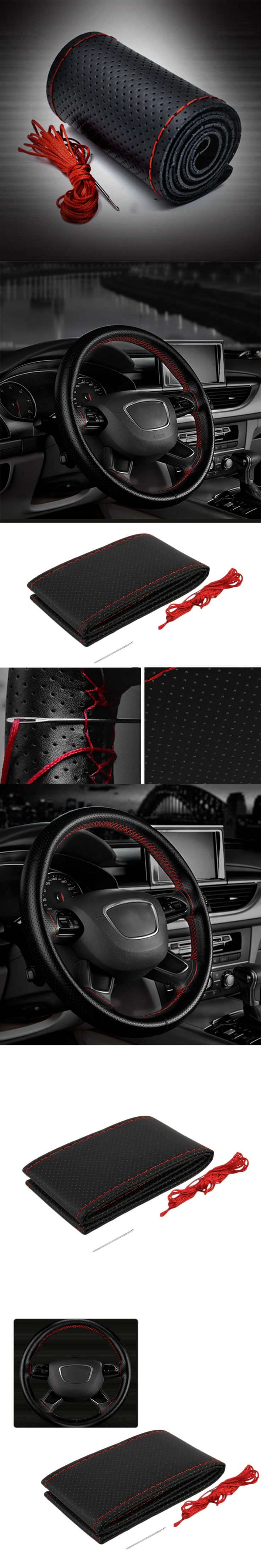 Newest 3 Color DIY Texture Soft Auto Car Steering Wheel Cover With Needles And Thread Artificial Leather Car Covers Suite