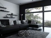 : Extraordinary Black Inteiror Color Design Ideas With Floral Motif Decoration As Appealing Model