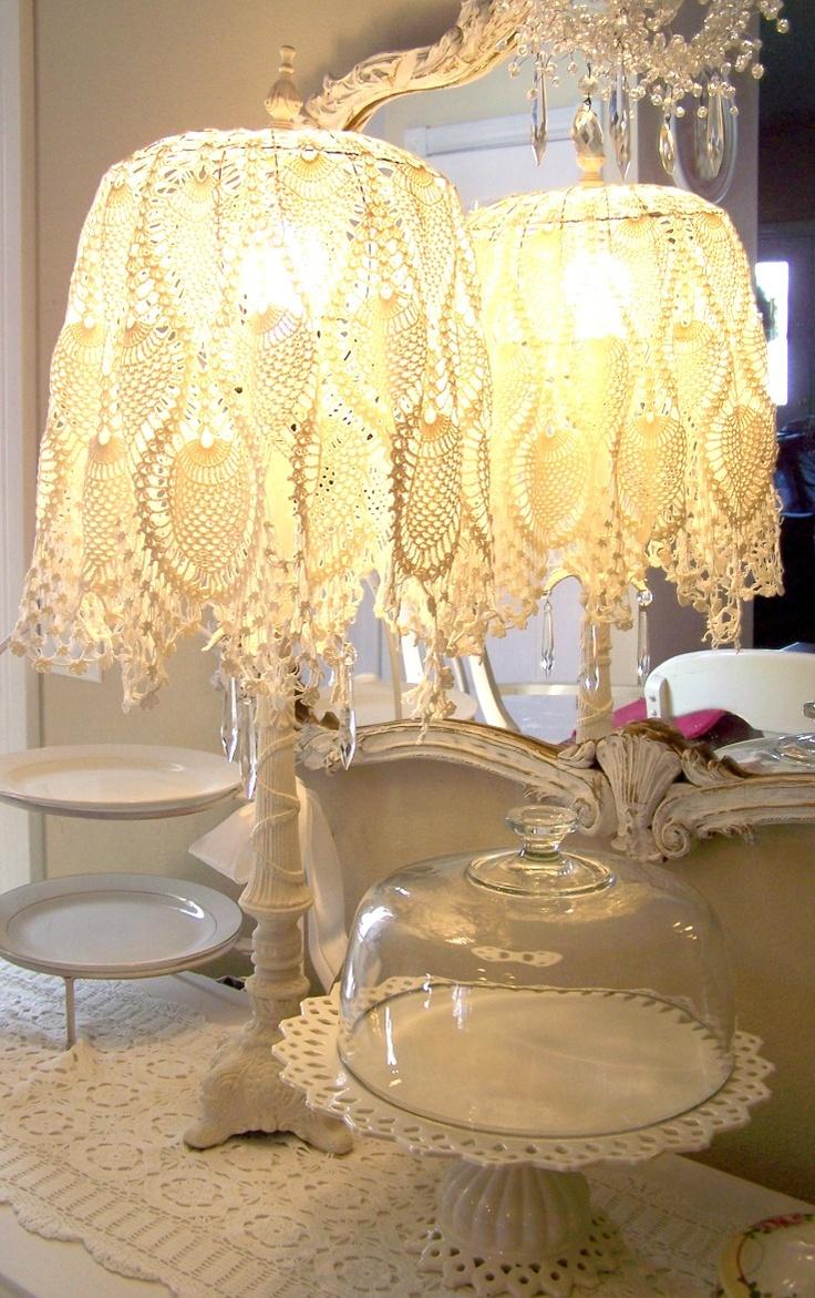 Romantic shabby chic home romantic shabby chic blog - Pretty Lacy Lamp Shade Olivia S Romantic Home Shabby Chic Bedroom Boudoir Update