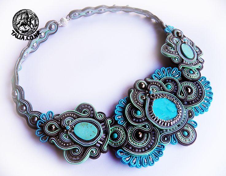 Soutache necklace in Blue