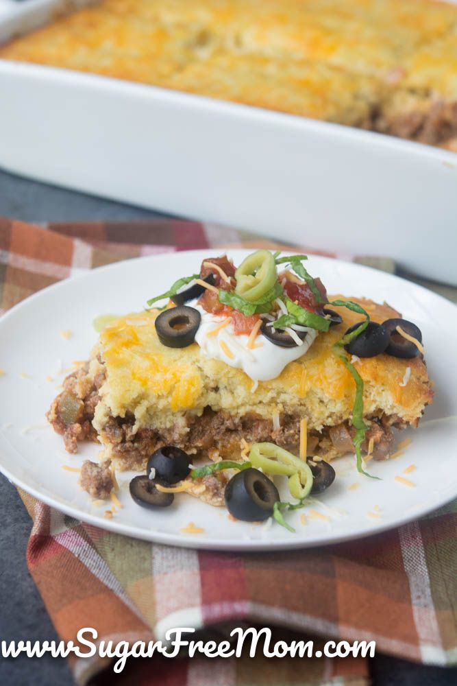 Mexican Cornbread Casserole (Low Carb and Gluten Free) Keto, THM, Atkins, Organic Grass-Fed Beef