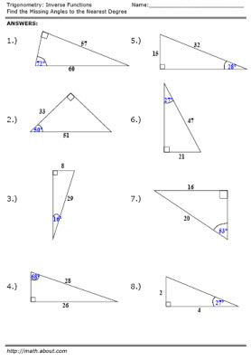 free trigonometry worksheets on inverse functions trigonometry worksheets and math. Black Bedroom Furniture Sets. Home Design Ideas