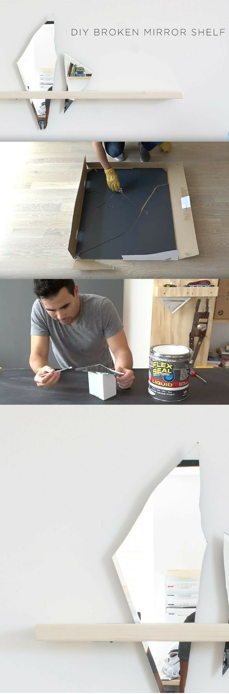 DIY Broken Mirror Shelf, Very Cool Idea. Watch This Guys Other Videos As Well, Some Awesome Ideas http://vid.staged.com/tGct