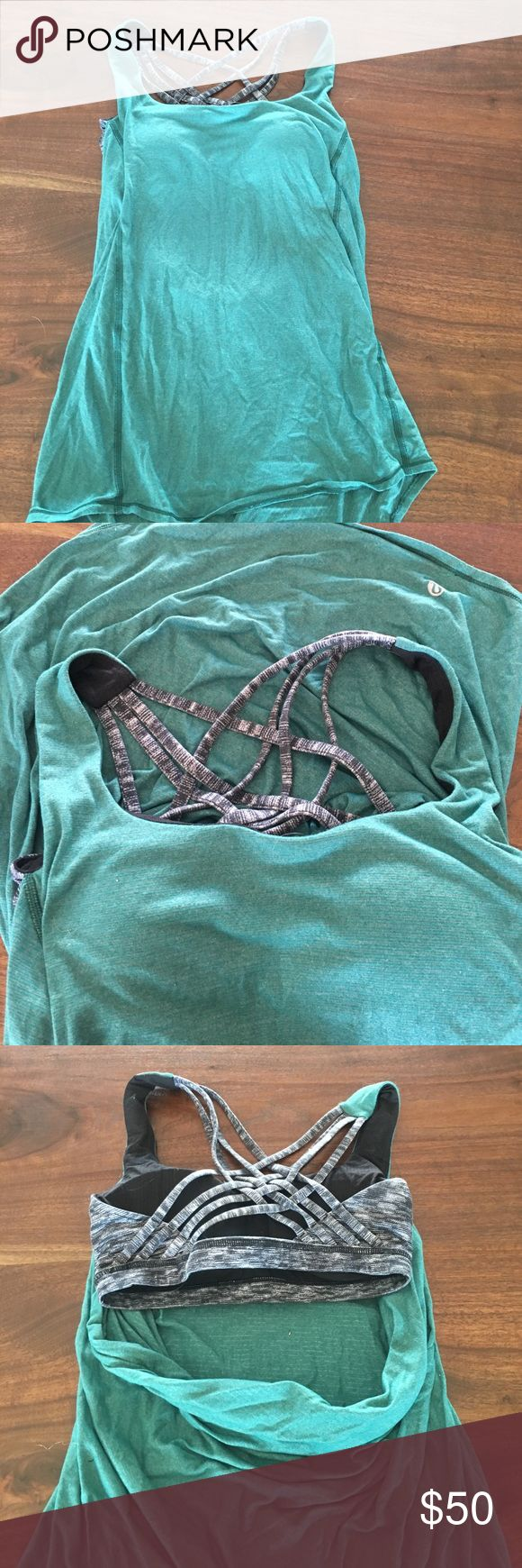 Lululemon tank Drop back built in sports bra and tank top in one!! Beautiful teal color with a black and white built in sports bra!! Rarely worn GREAT CONDITION ✅GET THE SET LULULEMON LEGGING ALSO FOR SALE IN MY CLOSET✅ lululemon athletica Tops Tank Tops