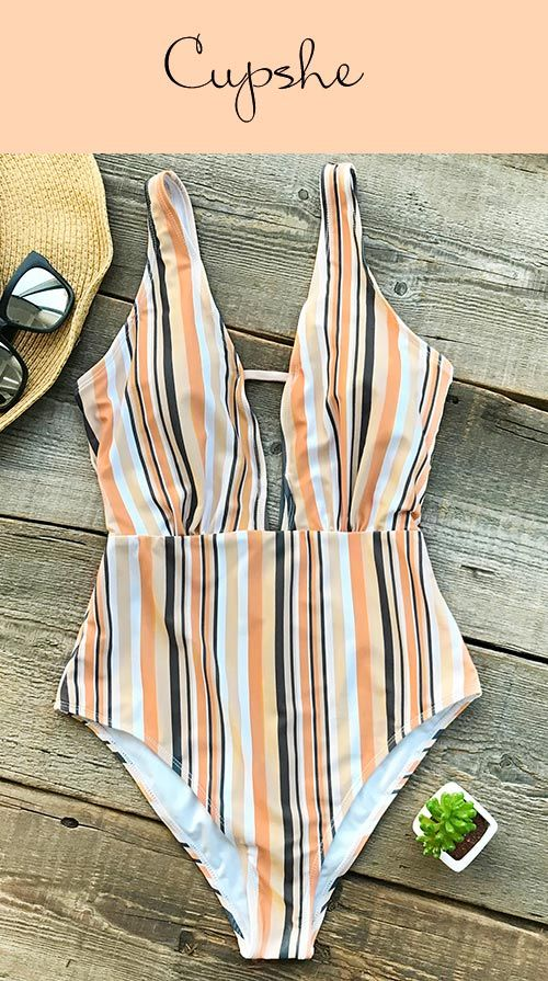 Complete your poolside look with a fruity drink and Cupshe Make Unique Stripe One-piece Swimsuit! Stunning style with unique strap prints, with hot plunging v-neck, with your glamorous beauty~ Free shipping & Check it out!