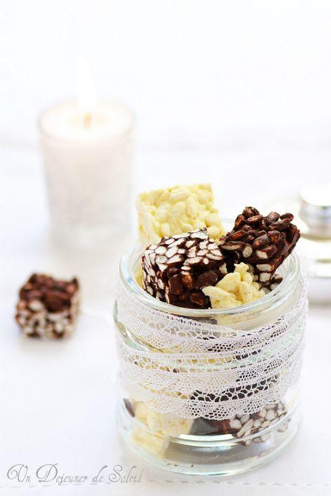 Carrés croustillants au riz soufflé chocolat noir et chocolat blanc (deux recettes)
