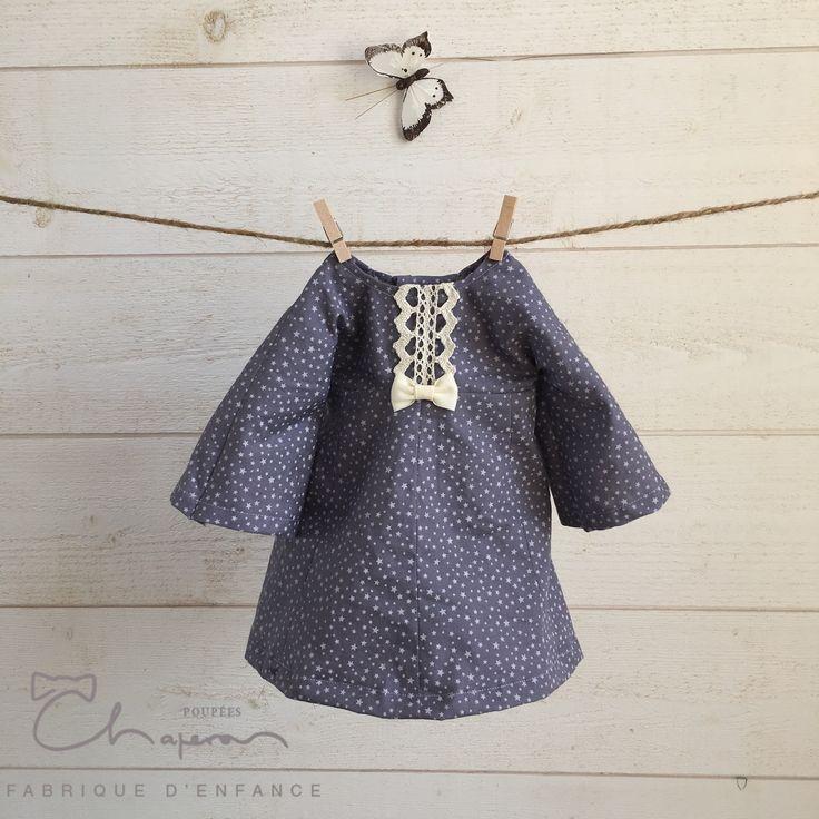 Robe coton parme imprimé étoiles #poupéesChaperon #poupéesWaldorf