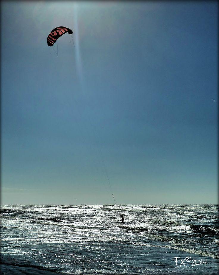 Kite surfing in the sun