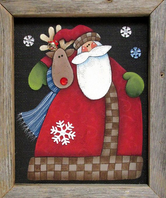 Santa and Reindeer, Folk Art Santa, Tole Painted on Black Screen, Christmas Art, Reclaimed Barn Wood Frame, Santa Claus, Santa Painted Sign This folk art Santa and Reindeer is a design by Nancy Halverson of Art to Heart. It is a Quilting pattern that I wanted paint! This has been