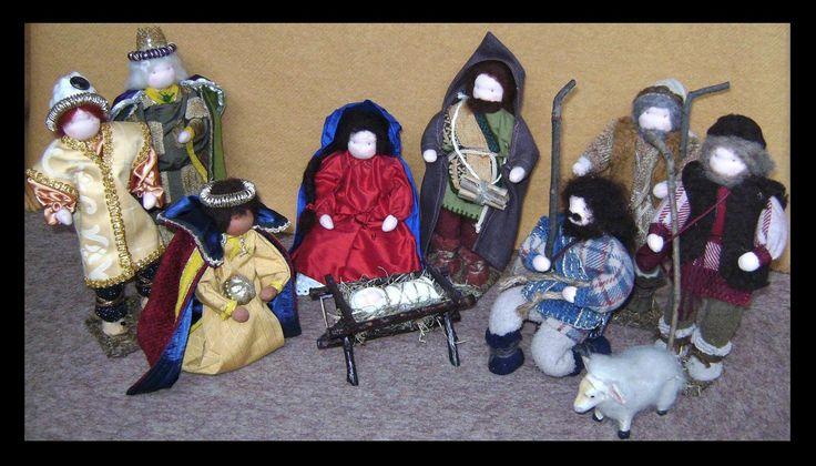 poppen kerst groep gemaakt door Sheila