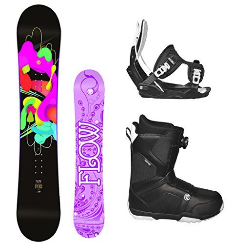 Flow 2017 Pixi Womens Complete Snowboard Package Flow Bindings Flow BOA Boots  Board Size 140 Boot Size 8 *** For more information, visit image link. (Amazon affiliate link)
