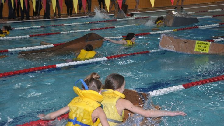Better bring a towel: Shuswap students race in cardboard boats - British Columbia - CBC News