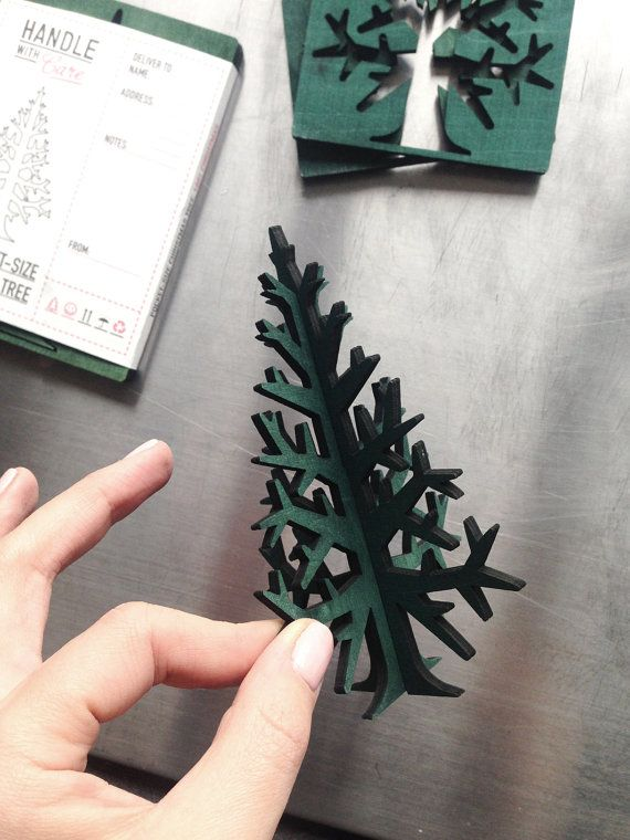 Pocket-size christmas tree, postcard size laser-cut recycled plywood tabletop tree 15 cm / 5,9 inches